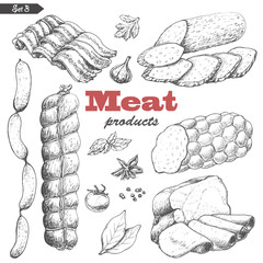 Vector set of isolated meat products