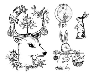 Christmas deer and animal with flowers in the horns. New Year hare and rabbit or bunny in the forest. winter holidays. engraved hand drawn in old sketch and vintage style for postcards.