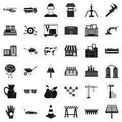 Building icons set, simple style