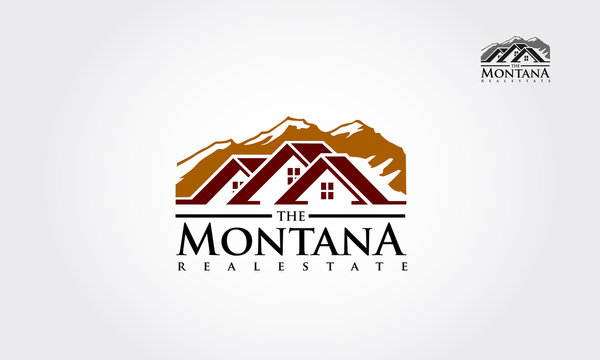 Logo for the resort in the mountains or a real estate agency specializing in cottage settlements. Realty construction architecture symbol. Real estate vector logo illustration