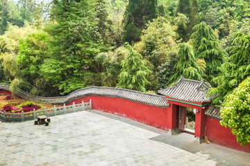 China, the Wudang monastery, red wall