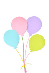 Pastel balloon paper cut on white background - isolated
