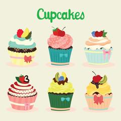 cute cupcake set vector