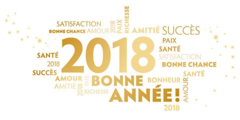 Carte de voeux – bonne année 2018 - blanc et doré