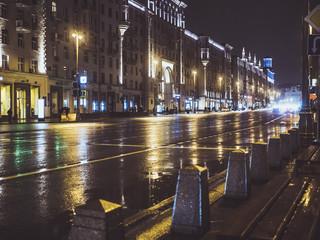 night city traffic buildings dark street road highway car
