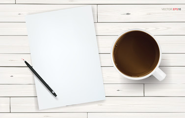 White paper sheet and coffee cup on white wooden texture background. Vector illustration.