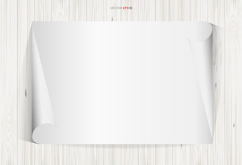 Curled paper sheet on white wooden texture. Empty white paper for background. Vector illustration.