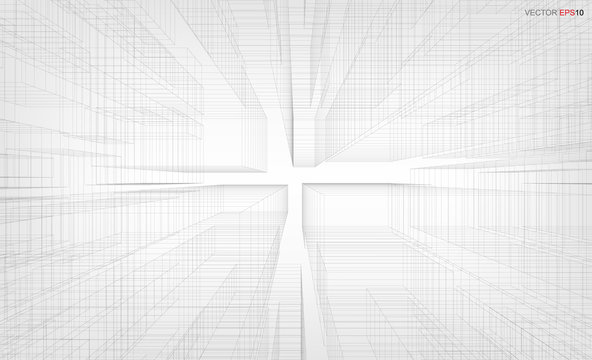 Abstract visual zoom background of 3D geometric wireframe render. Vector illustration.