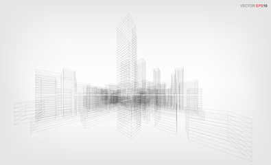 Fototapete - Perspective 3D render of building wireframe. Vector wireframe city background of building.