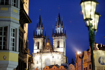 Tyn church night view in Prague, Czech Republic