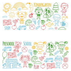 Imagination. Exploration. Study. Play. Learn. Kindergarten. Children. Kids drawing. Doodle icon. Illustration. Moon. House. Boys and girls. Preschool, school picture. Vector pattern