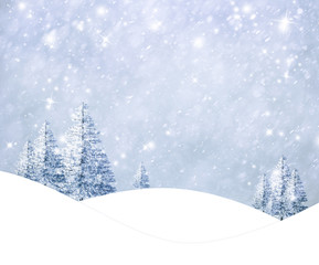 Beautiful winter landscape with snowy trees on the hills. Christmas and New Year holiday greeting card illustration background.