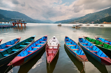 Colorful boats in Pokhara