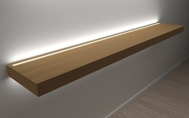 3D illustration. Modern shelves for store goods , boutique, shopping Mall showcase. Led concealed lighting. Home furniture