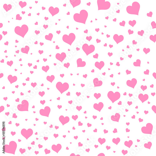 Color Hearts On White Background Vector Chaotic Seamless Pattern