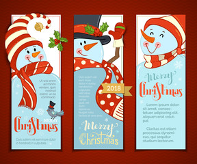 Vector set of vertical Christmas banners with cute snowmen.
