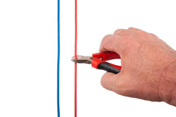 Nippers Cutting Red Wire