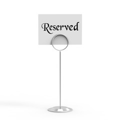 Reservation card, Reserved sign on isolated white background, 3d illustration
