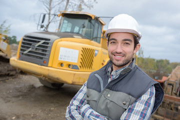 construction worker  with truck