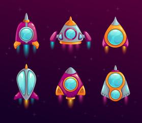Cartoon rocket icons set.