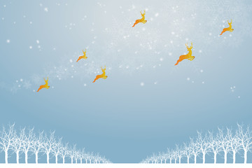 Christmas image Background image | Light blue sky and snowy ice and landscape of the ice field | Christmas image|Reindeer illustrations, decorations