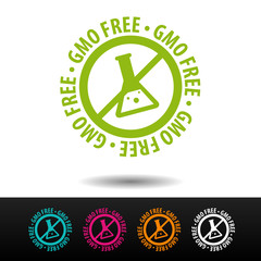 Wall Mural - GMO free badge, logo, icon. Flat vector illustration on white background. Can be used business company.