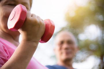 Asian Senior people exercising.