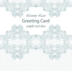 Luxury lace card. Handmade delicate ornament decors