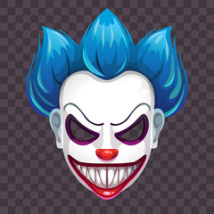 Scary evil clown mask on the transparent background.