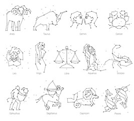 Horoscope, all Zodiac animals in constellation forms with line and stars. Collection of zodiac signs, thirteen of black elements, stars and constellations set. Zodiac animals constellation