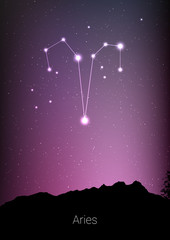 Printed kitchen splashbacks Eggplant Aries zodiac constellations sign with forest landscape silhouette on beautiful starry sky with galaxy and space behind. Aries horoscope symbol constellation on deep cosmos background. Card design