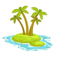 Cartoon island with palms