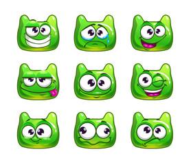 Funny cartoon green jelly monster