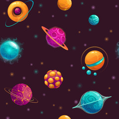 Seamless pattern with cartoon fantasy planets