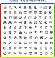 Iconset Piktogramme - Real Estate Shopping