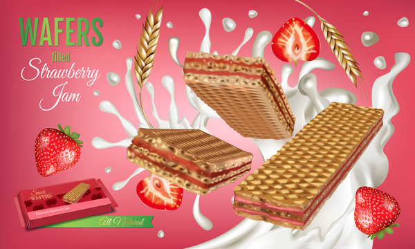 Vector realistic illustration of milk wafers with strawberry cream.