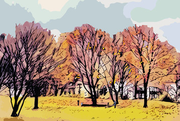 Autumn Landscape. Artistic Template with Paper Collage Effect.
