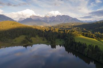 Aerial view of Geroldsee, Garmisch Partenkirchen, Bayern Alps, Germany