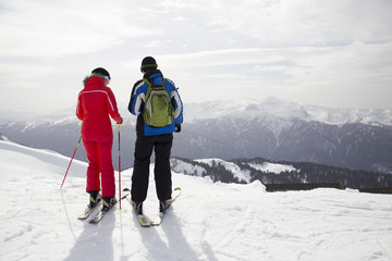 couple of young  in ski resort