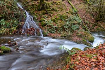 Waterfalls at Hell´s Mill (Infernuko Errota) trail in Baztan valley, Navarra, Spain