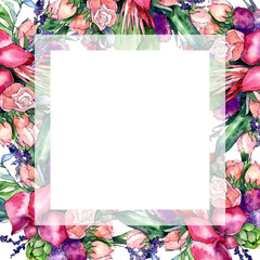 Wildflower bouquet frame in a watercolor style. Full name of the plant: orchid, rose. Aquarelle wild flower for background, texture, wrapper pattern, frame or border.