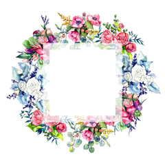 Wildflower bouquet wreath in a watercolor style. Full name of the plant: peony. Aquarelle wild flower for background, texture, wrapper pattern, frame or border.