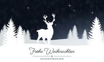 Weihnachtliche Landschaft mit Rentier - in Blau