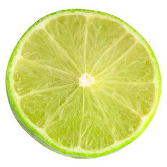 Sliced lime iisolated on white background with clipping path