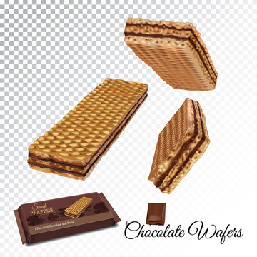 Vector realistic illustration of wafers with chocolate cream.