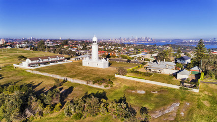 Drone Sydney Macquarie Lighthouse CBD
