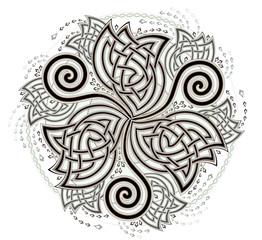 Fantasy Celtic disk ornament with triple spiral symbol, vector image.