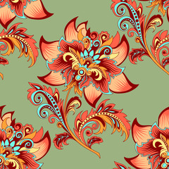 Tuinposter Abstract bloemen seamless ornament on a green background