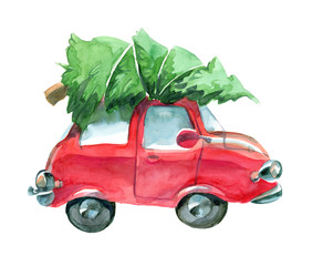 red car with green christmas tree on top