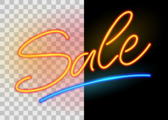Sale neon sign on on dark and transparent background. Hand drawn lettering. Vector illustration